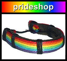 Leather With Rainbow Cotton Hemp Woven String Bracelet Gay Lesbian Pride #974