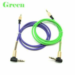 1m 3.5mm Dual Right Angle Male to Male Jack Stereo Audio Cable LOT UK