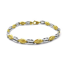 9ct Two Tone Gold Fancy Polished Satin Bracelet 6mm 7.5inch 10.08g RRP £370