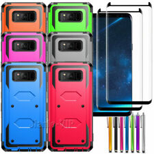 For Samsung Galaxy S8 Plus Armor Hybrid Hard Case Cover Tempered Glass Protector
