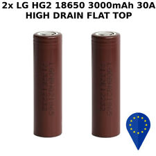 2x BATTERY LG 18650 HG2 FLAT TOP 3000mAh 30A RECHARGEABLE BATTERIA LITHIUM