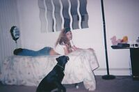 A Girl + Her Dog FOUND PHOTO Color FREE SHIPPING Original Snapshot VINTAGE 93 26
