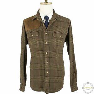 CURRENT Polo Ralph Lauren Brown Cotton Tweed Plaid Suede Shoulder Shacket XL