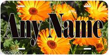 Orange Flowers Aluminum Any Name Personalized Novelty Car License Plate