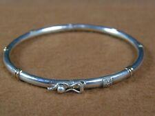 950 Sterling Silver & 18K Gold Hinged Bangle Bracelet