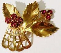 broche bijou vintage feuille relief cristal rouge rubis couleur or * 4751