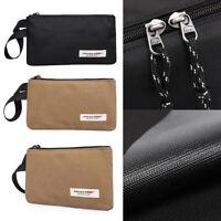 Men Canvas Wallet ID Credit Card Holder Clutch Bifold Pocket Zipper Coin Purse