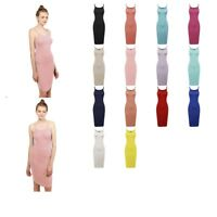 FashionOutfit Women's Solid Basic Soft Stretch Jersey Strap Body-Con Midi Dress