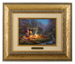 Thomas Kinkade Studios Mickey and Minnie Sweetheart Campfire Brushwork (Framed)