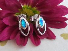 Damen Ohrstecker/Ohrringe 925 Sterling Silber Blau Opal Opalohrringe 10x5mm