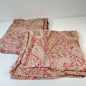 pillowcase sham pair ralph lauren red green paisley floral standard cotton
