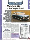 Wolseley Six 6 Cyl. 1973 UK Great Britain England Car Auto Retro FICHE FRANCE