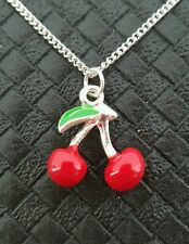 CUTE CHERRY NECKLACE ROCKABILLY PIN UP VINTAGE DERBY 50'S KITSCH RETRO SWING