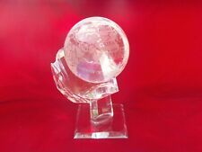QUALITY SOLID CRYSTAL WORLD GLOBE WITH STAND, FREELY TURNS , GLOBE IS 3.5 POUNDS