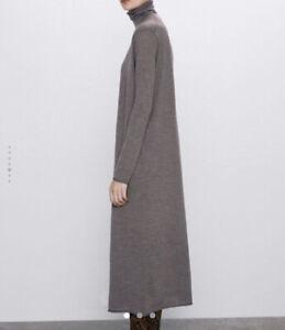 ZARA wool Polo Neck Midi/long Dress New With Tags MEDIUM