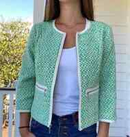 Cabi Sz 10 Woven Tweed Cropped Green Ivory Full Zip Blazer Jacket Womens