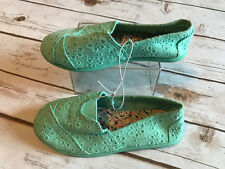 New Jumping Beans Girls 11 Slip On Mint Eyelet Lace Crochet Ballerina Flat Shoes