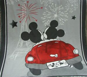 Mickey & Minnie Evening Out Cotton Top Grey Minky Back Cot Blanket Handmade