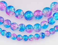 140 x 6MM~100 x 8MM~50 x 10MM~PINK / BLUE~ROUND~CRACKLE~GLASS BEADS