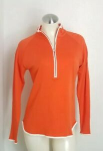 Peter Millar womens long sleeve shirt orange and white style LF14K30 size Medium