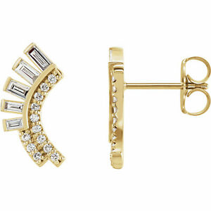 Diamant Incurvé Éventail Earrings IN 14K or Jaune (1/3 Ct. Tw