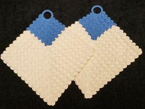 Vintage Potholder Hand Crocheted Matching Pair Blue & White 40s Novelty Estate