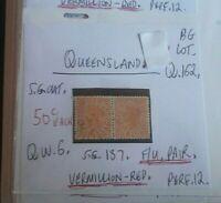 QUEENSLAND QUEEN VIC 1d VERMILLION RED F.U. PAIR STATE STAMP