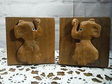Vtg Cryptomeria Wood Carved Elephant Bookends Mid-Century Nursery