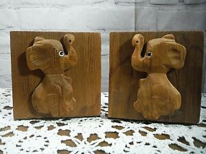 VTG Cryptomeria Wood Carved Elephant Bookends Mid-Century Nursery