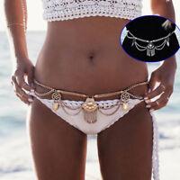 Luxury Women Beach Metal Waist Body Chain Belly Bra Bikini Boho Tassel Jewelry