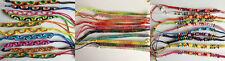 Colourful braided plait nylon thread adjustable friendship bracelet. Hippy Boho