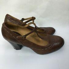 Women's Brown Leather Frye Mary Jane shoes Sz 9 Chunky Heel Block Heel