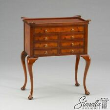 L2836: Burl Walnut Jewelry Stand or Chest w Queen Anne Legs ~ New