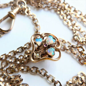 """Stunning Art Nouveau 9CT Gold Slider Guard CHAIN Necklace 56""""  with OPAL HEARTS"""