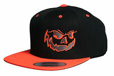 HALLOWEEN HAT CAP FLAT BILL SNAPBACK DEMON JACK O LANTERN PUMPKIN COSTUME