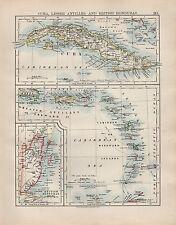 1904 ANTIQUE MAP ~ CUBA LESSER ANTILLES & BRITISH HONDURAS CARIBBEAN WINDWARD
