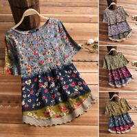 ZANZEA Womens Summer Tee T Shirt Bohemian Floral Blouse Short Sleeve Top S-5XL