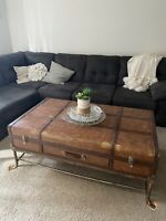 Vintage Faux Leather Suitcase Trunk Coffee Table