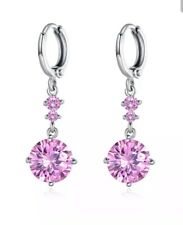 Pink Sapphire 8MM Dangle Drop Earrings 14Kt White Gold 1 Inch Drop NWOT