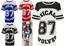 Teens chicago 87 baggy top Womens USA Baseball Varsity american Wolves Print