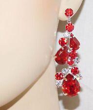 Silver Drop Earrings Red Ruby Rhinestone Crystal