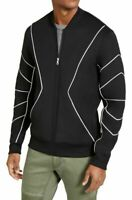 INC Mens Jackets Black Size XL Knit Piped Contrast Bomber Full Zip $79 034