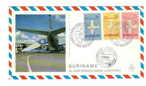 SURINAME 1970 FDC First Day Cover AVIATION KLM FLIGHT