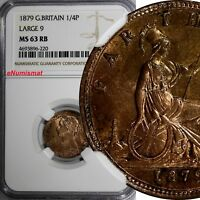 "Great Britain  Victoria Bronze 1879 Farthing NGC MS63 RB Large ""9"" RED KM# 753"
