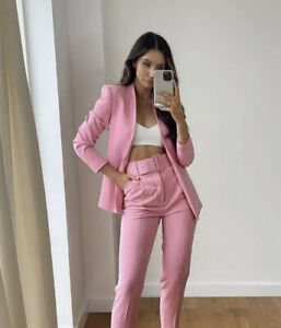 ZARA PINK BLAZER AND PANT SUIT POWER SET TROUSERS M 2274/811