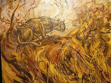 "24x36 original 1970 all pallet knife oil painting Carl E. Pulcifer ""Leopard Cat"""
