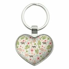 Cats and Flowers Heart Love Metal Keychain Key Chain Ring