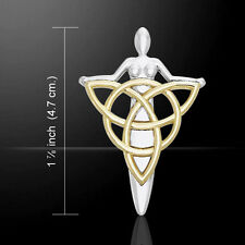 Danu Goddess Silver and Gold Pendant by Peter Stone
