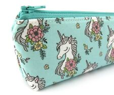 Mint Floral Unicorn Girls Kids Pencil Case, Zip Pouch, Zippered Pencil Case