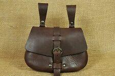Wikinger Gürteltasche Leder braun Nubuk Drachenschnalle Mittelalter Tasche